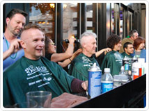 Shavees and volunteers at last year's St. Baldrick's event