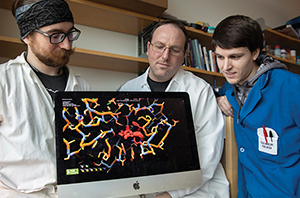 Graduate student Alex Schaffer, Justin Siegel and Ryan Caster with a FoldIt protein design