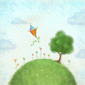 STEPS image of kite flying and tree on a hill