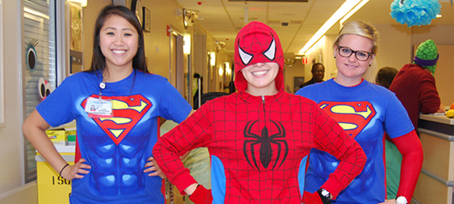 Patients and staff at UC Davis Children's Hospital celebrate Halloween