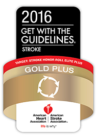 2016 Get With The Guidelines-Stroke Gold Plus Quality Achievement Award badge