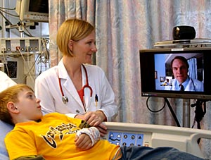 Telemedicine patient and physician consulting with Dr. James Marcin from UC Davis Medical Center