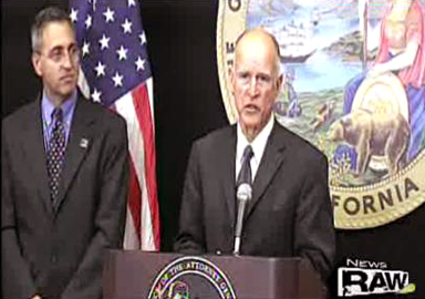 Dr. Scott Fishman and Calif. Attorney General Edmund G. Brown, Jr. © NBC  Click on photograph to view complete press conference
