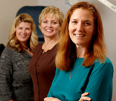 Photograph of Dr. Waetjen, Tracy Seward and Deborah Deatheragehand © UC Regents