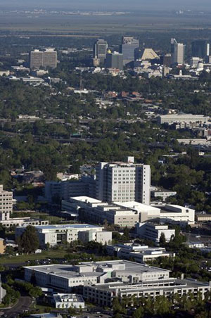 aerial view of health campus, city skyline