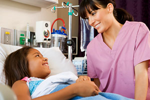 nurse with hospitalized girl