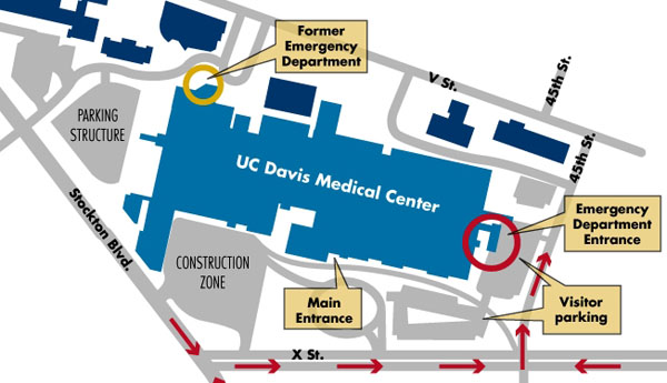Location map of new trauma center © 2010 UC Regents