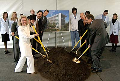 School of Medicine dean Claire Pomeroy and other leaders and students at groundbreaking © UC Regents