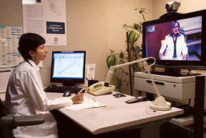 Dr. Shaikh using telemedicine © UC Regents