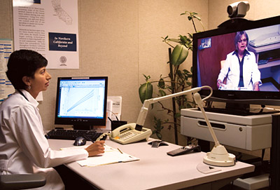 Dr. Shaikh does telemedicine consulaltion © UC Regents