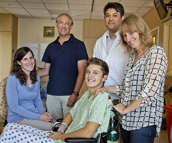 Jordan Herbst, his parents and medical team © UC Regents