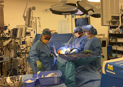 Midway through the VATS procedure, a minimally invasive approach to removal of lung tumors.