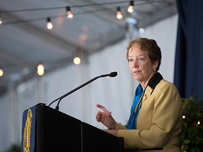 Photograph of Julie Freischlag addressing the audience © UC Regents