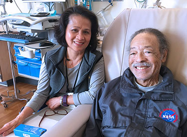 Grateful patient Luke G. Conley III at the UC Davis Comprehensive Cancer Center with licensed vocational nurse Lilia Torres, whom he nominated for an Extraordinary Healers award.