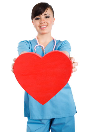 health-care worker holding heart