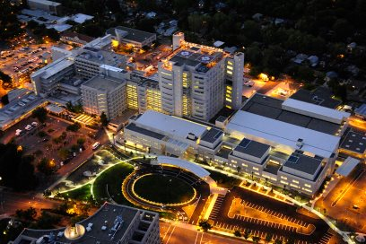 Aerial night view of UC Davis Medical Center. © UC Regents