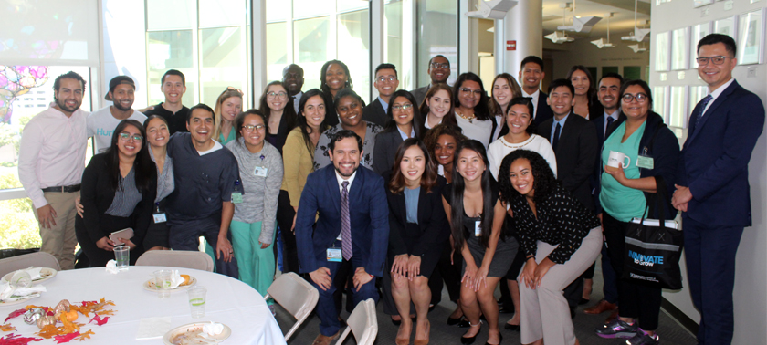 2018-2019 Postbacc Cohort, group of students smiling