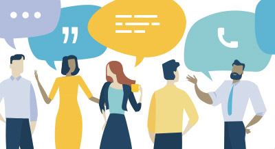 stock art illustration of talking people