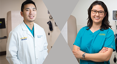 Nursing students Victoria Jackson and Patrick Nguyen