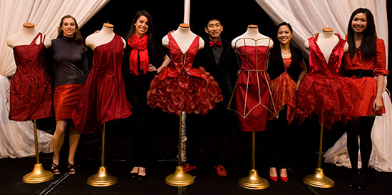 Designers with their dresses, L-R:  Ellen Griesemer, Lucia Carrousel, David Lee, Mary Guillen and  Heidi Lo. © UC Regents