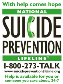 National suicide prevention hotline information