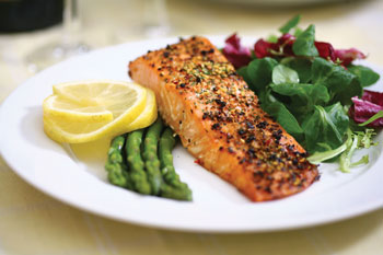salmon on plate