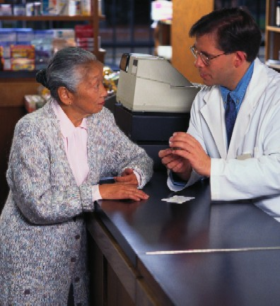 Patient talking to a pharmacist