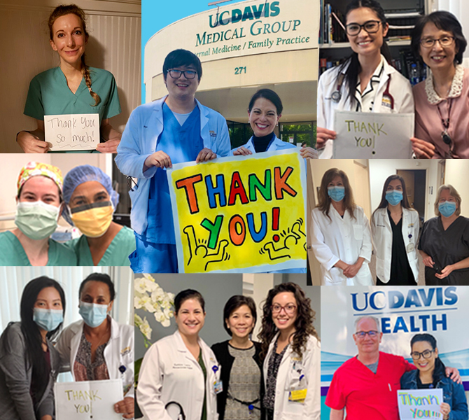 nurses hold up signs giving thanks