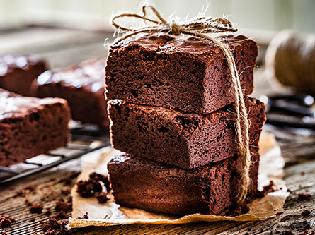 chocolate brownies tied with twine