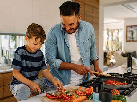 Family preps healthy meal