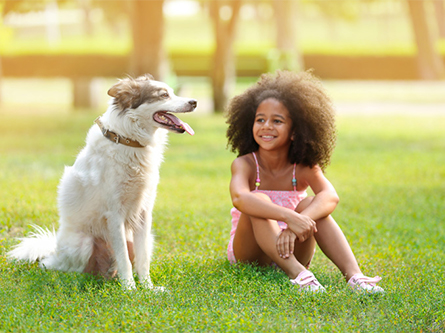 child sits with a dog on the grass