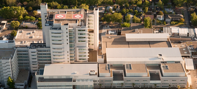 hospital aerial view, copyright UC Regents