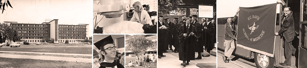 Collage of UC Davis School of Medicine archival photos, celebrating 50 years