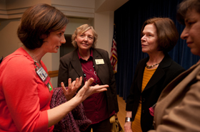 Dr. Mary Naylor meets with participants at first-ever Betty Irene Moore School of Nusring lecture.