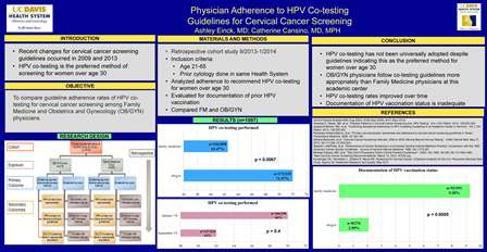 Physician Adherence to HPV Co-testing Guidelines for Cervical Cancer Screening
