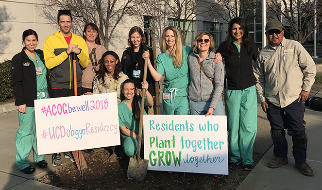 Residents planting trees for ACOG's Wellness Week