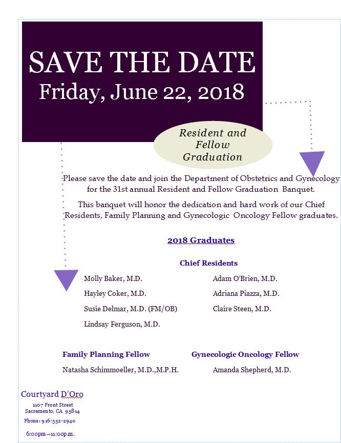 Save the Date for Resident & Fellow Graduation