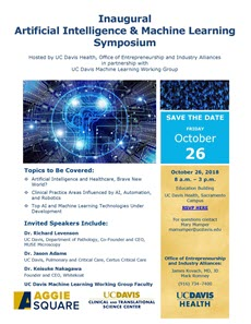 Inaugural Artificial Intelligence & Machine Learning Symposium Hosted by UC Davis Health, Office of Entrepreneurship and Industry Alliances in partnership with UC Davis Machine Learning Working Group. For questions contact Mary Mumper mamumper@ucdavis.edu.