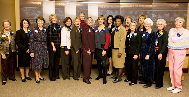 Attending the reception honoring the School of Medicine's Founding Women were, from left, Mary H. Tupper, Ellen Gold, Mary Metcalf, Robin Hansen, Lydia Howell, Sally DeNardo, Judy Turgeon, Marlene Mirassou, Penny Knapp, Amparo Villablanca, Sally Gray, Ruth Lawrence, Ann Bonham, Karen Lindfors, Nancy Joye, Jesse Joad and Hanne Jensen.