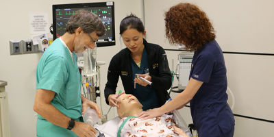 Clinicians participate in ENT Emergencies Bootcamp. (C) UC Davis Regents.