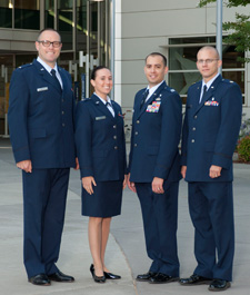 Military program faculty, from left: Capt Andrew Wishy, Capt Meryl Simon, Capt Jason Nieves, and Maj Timothy Williams (the site director)