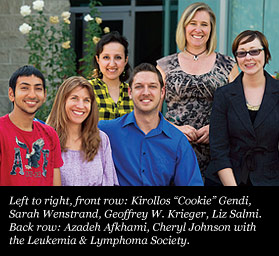 "Left to right, front row: Kirollos ""Cookie"" Gendi, Sarah Wenstrand, Geoffrey W. Krieger, Liz Salmi. Back row: Azadeh Afkhami, Cheryl Johnson with the Leukemia & Lymphoma Society."