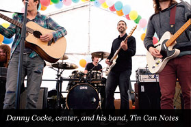 Danny Cocke, center, and his band, Tin Can Notes
