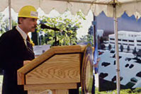 James Goodnight, Jr., then cancer center director, at groundbreaking in 1989