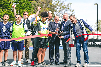 Oak Park soccer ribbon cutting