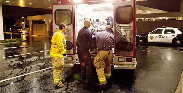 Photograph of ambulance delivering patient to emergency room © UC Regents