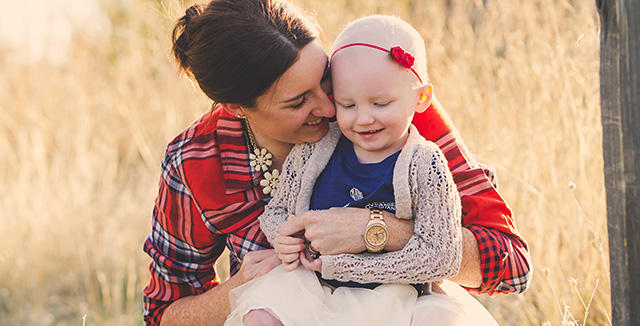 Image of mom with daughter diagnosed with cancer. Courtesy photo