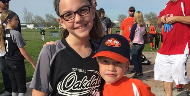 Caleb at a softball game