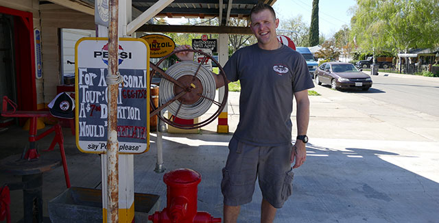 Richard Reiff at his family's historic gas station and. Photo courtesy of the Reiff family