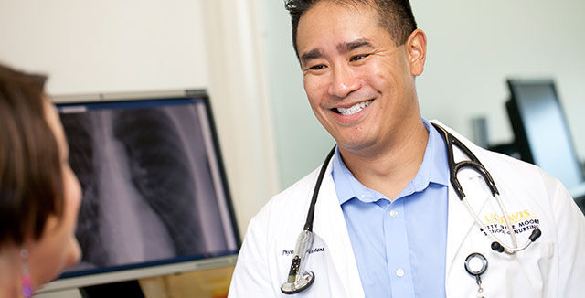 School of Nursing physician assistant student Jason Sajulan embraces early clinical experiences and opportunities to ultimately save lives.  © UC Davis